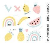set with fruit lemon  banana ...   Shutterstock .eps vector #1857485500