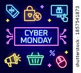 cyber monday neon sign... | Shutterstock .eps vector #1857541873