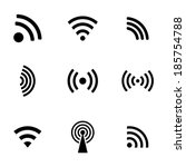 vector black wireless icons set ... | Shutterstock .eps vector #185754788
