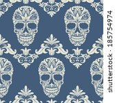 skull swirl decorative pattern   Shutterstock .eps vector #185754974