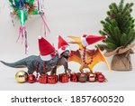 Toy Dinosaurs With Santa Claus...
