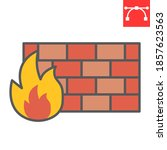 firewall color line icon ...