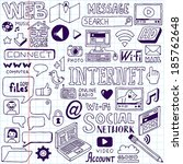 internet doodles set. school... | Shutterstock .eps vector #185762648