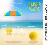 summer holiday background.... | Shutterstock .eps vector #185762930