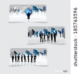 business people silhouettes... | Shutterstock .eps vector #185763596