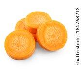 carrot slices isolated on white | Shutterstock . vector #185768213