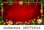 christmas red background with... | Shutterstock .eps vector #1857713116