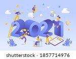 happy new year 2021. 2021... | Shutterstock .eps vector #1857714976