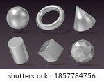 3d silver geometry. realistic... | Shutterstock .eps vector #1857784756
