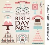 vector collection of birthday... | Shutterstock .eps vector #185779049