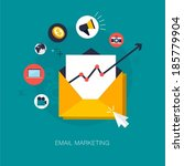 vector email marketing concept... | Shutterstock .eps vector #185779904