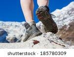 hiking boots closeup on... | Shutterstock . vector #185780309