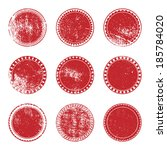 grunge stamp set of red color... | Shutterstock .eps vector #185784020