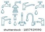 plumbing set of blue outlined... | Shutterstock .eps vector #1857929590