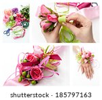 collage handmade by wedding... | Shutterstock . vector #185797163