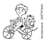 little boy rides a bicycle and... | Shutterstock .eps vector #185797664