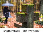 Religious Cross In Cemetery. ...