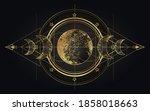 moon magic. triple moon pagan... | Shutterstock .eps vector #1858018663