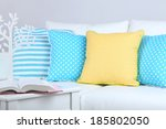 white sofa with colorful... | Shutterstock . vector #185802050