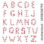 alphabet made from red white...   Shutterstock . vector #1858038799