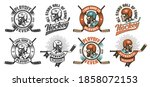 retro hockey logo  mascot  ... | Shutterstock . vector #1858072153