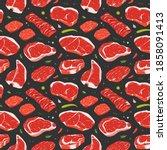 steak pattern  various beef... | Shutterstock .eps vector #1858091413