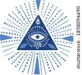 mandala greek evil eye vector   ... | Shutterstock .eps vector #1858096690