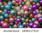 Multi colored christmas baubles ...