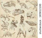 dinosaurs  set no. 1   ... | Shutterstock . vector #185812100
