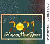 happy new year 2021 text design.... | Shutterstock .eps vector #1858154710