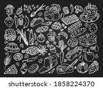 vintage hand drawn food...   Shutterstock .eps vector #1858224370