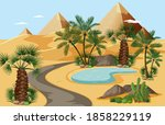 desert oasis with palms and... | Shutterstock .eps vector #1858229119