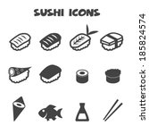 sushi icons  mono vector symbols | Shutterstock .eps vector #185824574