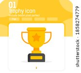 trophy cup icon vector with...