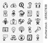 doodle people icons | Shutterstock .eps vector #185827838