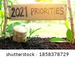 Small photo of 2021 priorities banner in natural background. New Year 2021 setting life priority, goal and plan concept.