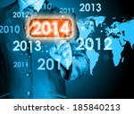 businessman touching new year... | Shutterstock . vector #185840213