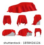realistic red wrinkled elegance ... | Shutterstock . vector #1858426126