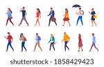 characters of people walking...   Shutterstock . vector #1858429423