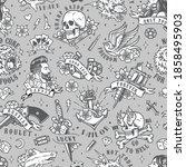 vintage tattoos seamless... | Shutterstock .eps vector #1858495903