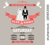 wedding invitation card... | Shutterstock .eps vector #185852000