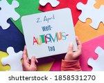 Welt Autismus Tag Design. Hand...