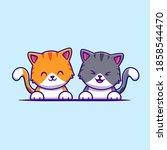 cute cat couple friend cartoon... | Shutterstock .eps vector #1858544470