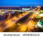 Evening aerial view to road bridge in Kharkiv, Ukraine. Komunalnyi overpass and Moskovskyi avenue crossroad