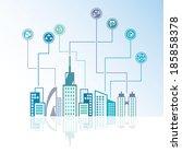 city skyline background  social ... | Shutterstock .eps vector #185858378