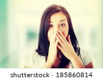 young woman shocked. | Shutterstock . vector #185860814