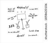office lettering. hand drawn... | Shutterstock .eps vector #1858620106
