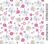 daisies and chamomile pattern... | Shutterstock .eps vector #1858626010