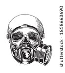 covid 19 pandemic  human skull...   Shutterstock .eps vector #1858663690