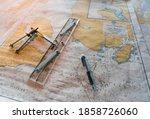 Sea Chart In Navigation Bridge...